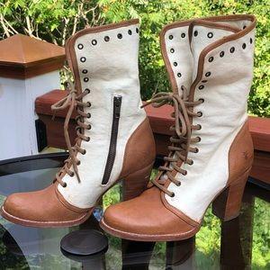 Frye Canvas Leather Julia Grommet Lace ankle boots